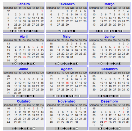 Calendario 2012   Semanas