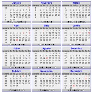 Calendário 2012 - Com semanas e feriados para imprimir
